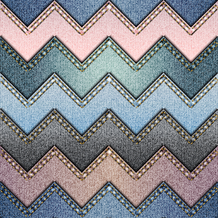 Seamless background pattern. Patchwork of denim fabric in chevron style