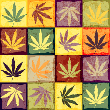 Hemp leaves in retro style. Seamless background pattern.
