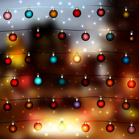 city lights: Blur lights city background with the Christmas balls. Illustration