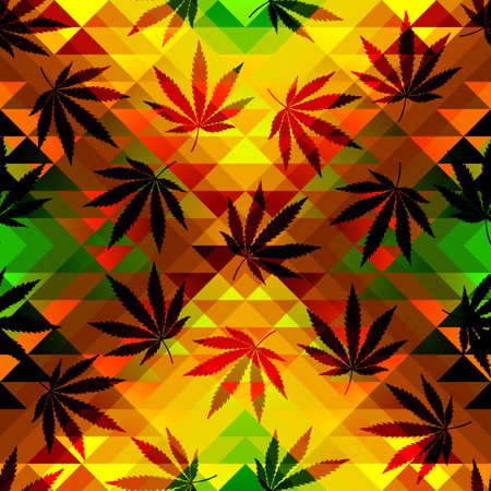 reggae: Seamless pattern of the hemp leaves on geometric background.