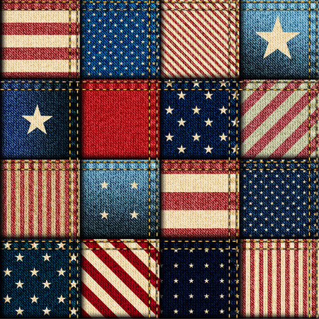 Seamless background pattern. Patchwork of American flag. Vettoriali