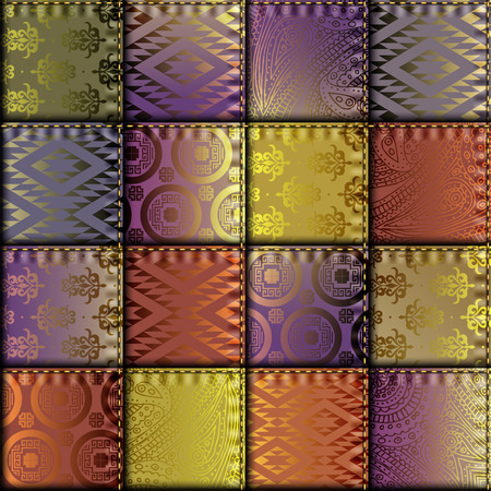 fabric texture: Seamless background pattern. Silk patchwork with relief stitches. Illustration