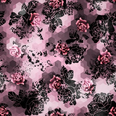 Naadloos patroon als achtergrond. Grunge rozen op roze kubussen achtergrond.