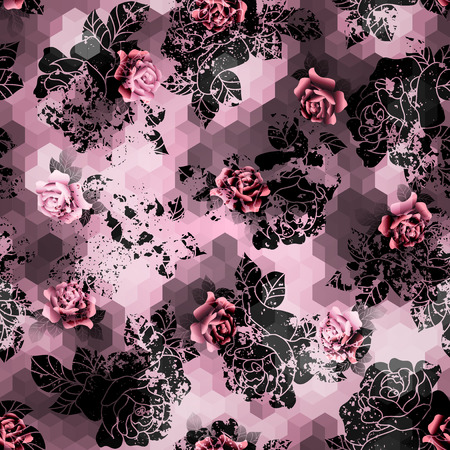 Seamless background pattern. Grunge roses on pink cubes background.