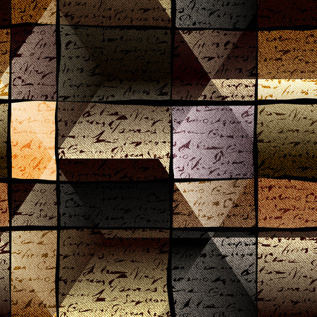 manuscript: Seamless background pattern. Manuscript dark textured background. Illustration