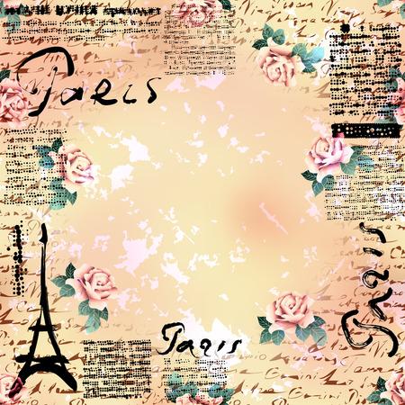 decoupage: Bordered Background. Grunge vintage frame Paris in scrapbook style.