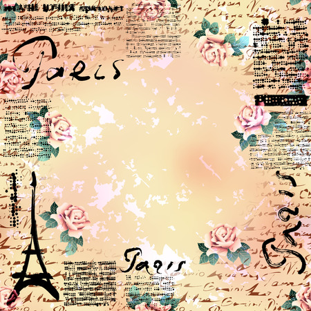 Bordered Background. Grunge vintage frame Paris in scrapbook style.