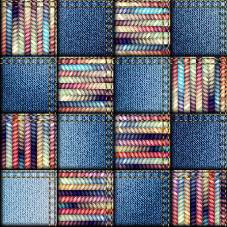denim: Seamless background pattern. Patchwork quilt from scraps of denim and knit. Illustration