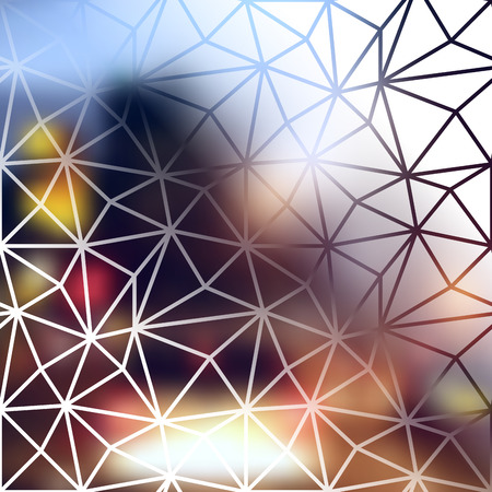 city lights: Blur lights city background with the geometric elements. Illustration