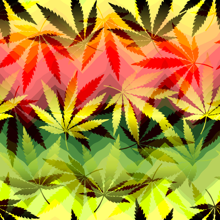 marijuana plant: Hemp leaves on chevrones background. Seamless pattern,