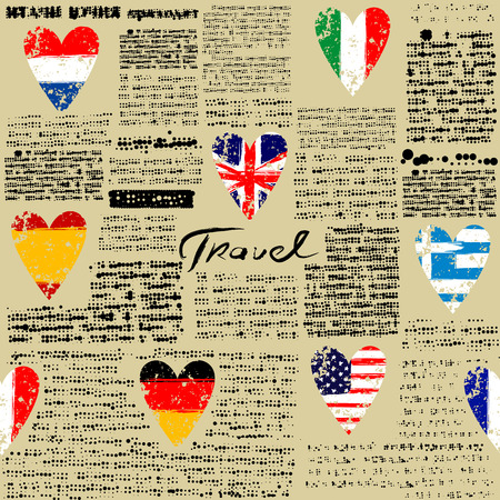Seamless background pattern. Imitation of newspaper Travel. Text is unreadable.
