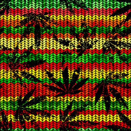 Naadloos patroon van de hennep bladeren op geometrische achtergrond.