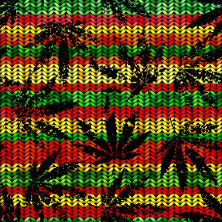 Seamless pattern of the hemp leaves on geometric background.