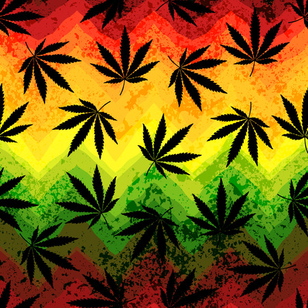 marijuana plant: Seamless pattern of the hemp leaves on geometric background.