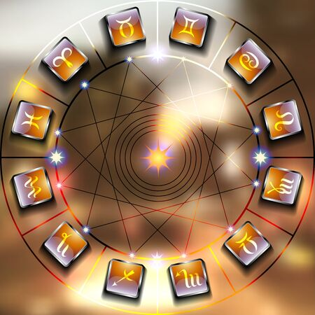 astrologer: Magic circle with zodiacs sign on blurred photo of city.