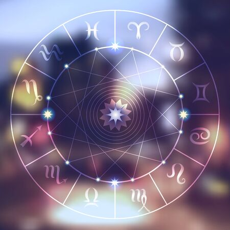 Magic circle with zodiacs sign on blurred photo of city.