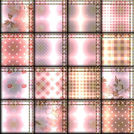 patchwork: Seamless background pattern. Patchwork of pink cloth.