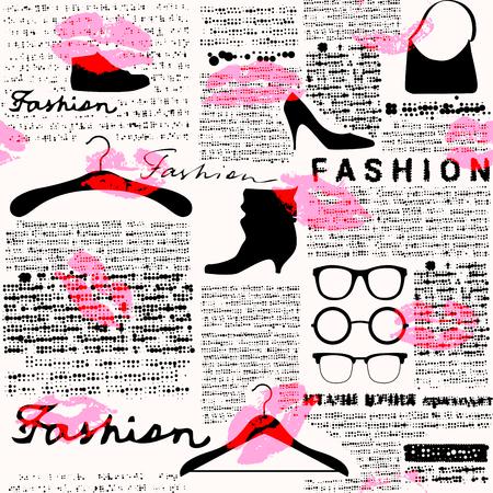 oude krant: Imitatie van retro krant achtergrond met de inscriptie van Fashion en afdruk van lippenstift