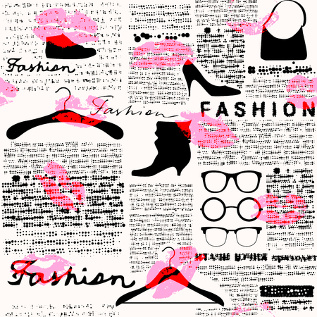 Imitation of retro newspaper background with the inscription of Fashion and print of lipstick