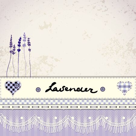 floral background: Imitation of retro patchwork background with Lavender flower. Illustration