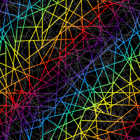 Seamless background pattern. Abstract rainbow geometric pattern on black.
