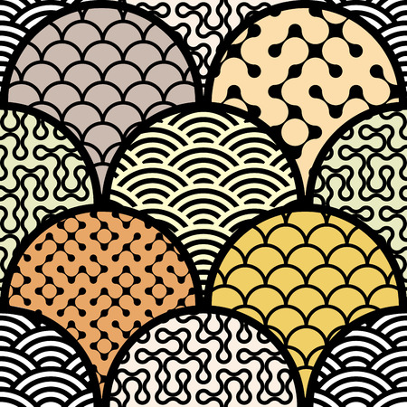 continuity: Seamless background pattern. Abstract diagonal geometric pattern with arc elements. Illustration