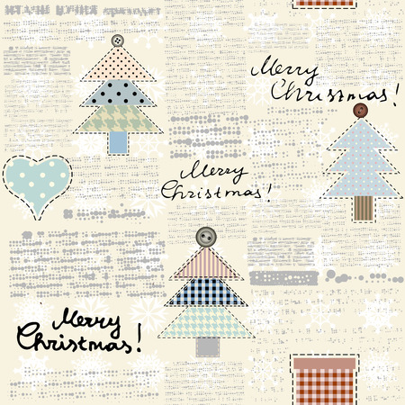 old newspapers: Imitation of retro newspaper background with the Christmas tree Illustration