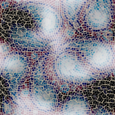 cracks: Seamless background pattern. Paisley mosaic with cracks. Illustration