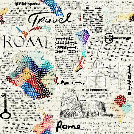 Imitation of retro newspaper background Rome travel Vectores