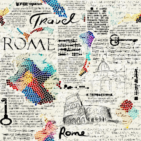 Imitation of retro newspaper background Rome travel 向量圖像