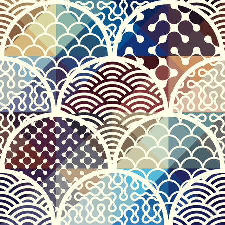 arc: Seamless background pattern. Abstract diagonal geometric pattern with arc elements. Illustration