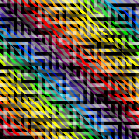 convex shape: Seamless background pattern. Abstract diagonal geometric pattern with rainbow elements. Illustration