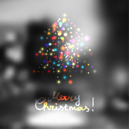 city lights: Blur lights city background with the Christmas tree in vintage style. Illustration