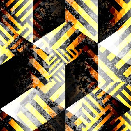 yellow line: Seamless background pattern. Abstract geometric pattern with grunge elements. Yellow line on black cubes background. Illustration