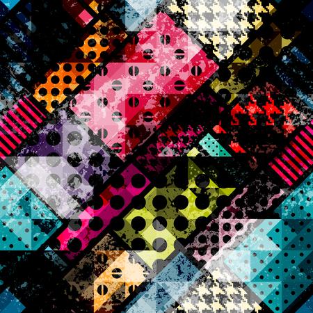 abstrakte muster: Nahtlose Hintergrundmuster. Abstrakte geometrische Muster mit Grunge-Elementen. Illustration