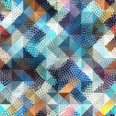 mosaic: Seamless background pattern. Blue geometric mosaic on gray.