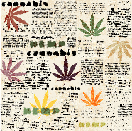 reggae: Imitation of newspaper background with the hemp leaves Seamless pattern. Illustration