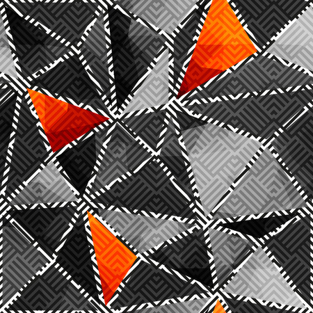 gray strip backdrop: Seamless background pattern. Abstract gray geometric pattern of triangles.