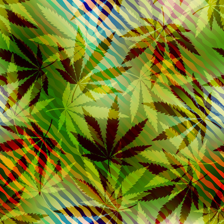 Seamless pattern of the hemp leaves on blurred background. Illustration
