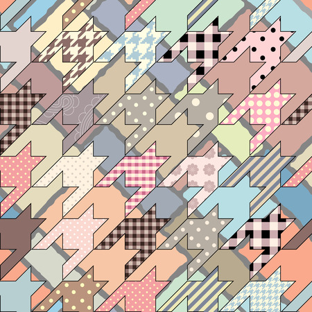 Seamless background pattern. Pink geometric pattern in patchwork style and hounds-tooth elements..