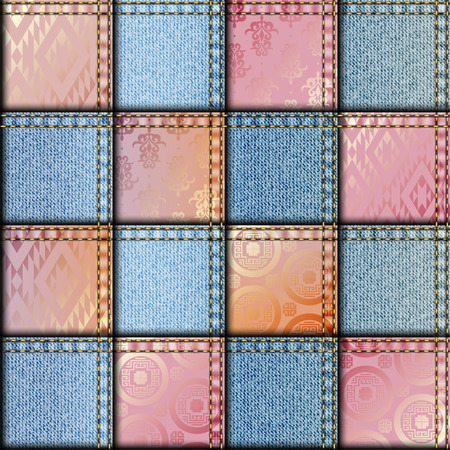 Seamless background pattern. Patchwork with satin effect.