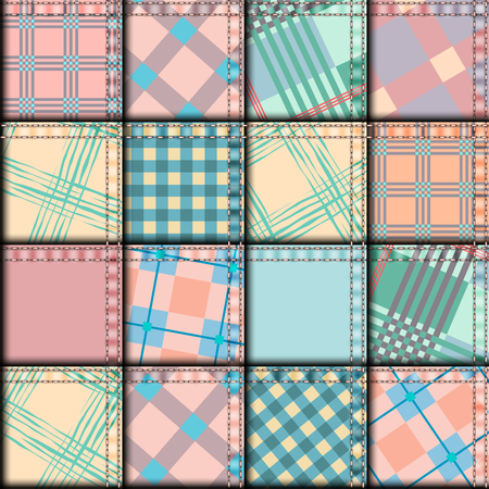 patchwork: Seamless background pattern. Pink patchwork in geometric plaid style. Illustration