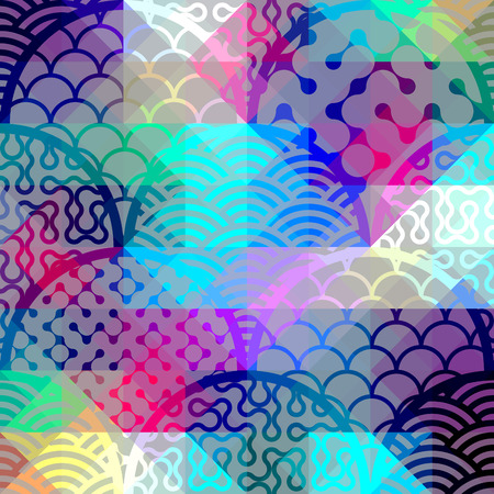 convex shape: Seamless background pattern. Abstract diagonal geometric pattern with arc elements. Illustration
