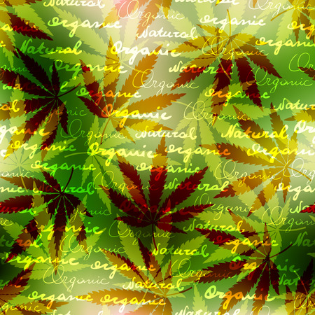 hemp: Seamless pattern of the hemp leaves on blurred background. Illustration