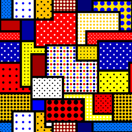 Seamless background pattern. Geometric pattern in patchwork style and bright colors. Illustration