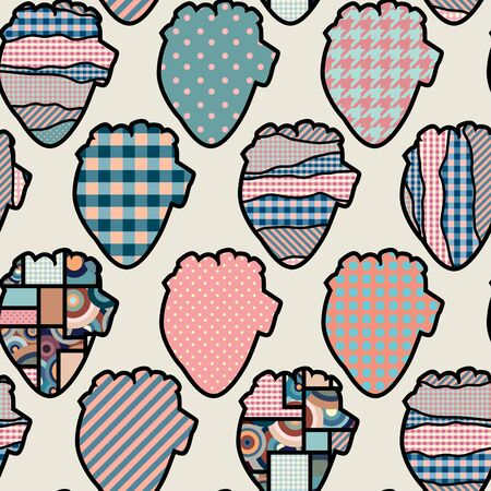 continuity: Seamless background pattern of anatomical heart silhouette. Illustration