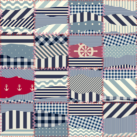 nautical pattern: Seamless background pattern. Wavy patchwork in nautical style.