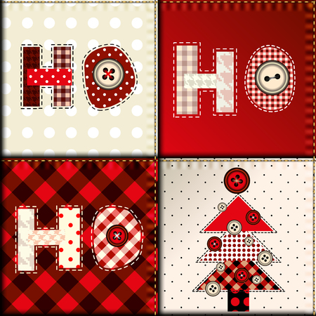 Seamless background pattern. Christmas pattern in patchwork style. Lettering Ho-ho-ho.