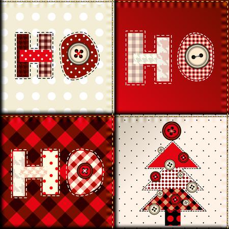 patchwork: Seamless background pattern. Christmas pattern in patchwork style. Lettering Ho-ho-ho.