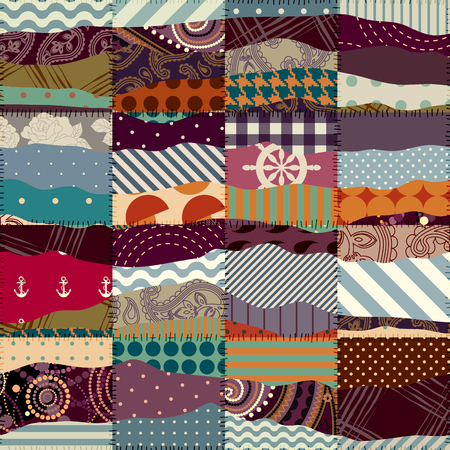 wavy fabric: Seamless background pattern. Wavy patchwork of a different fabric.